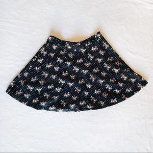 Flower Print Black Skater Skirt (Size S)